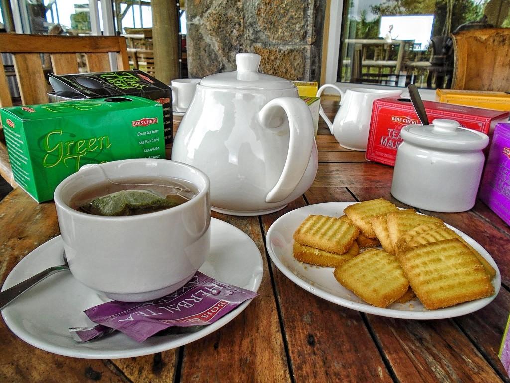 Black tea, biscuits, and snacks